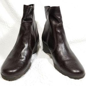 AEROSOLES Bookstore Brown Vegan Wedge Ankle Boots